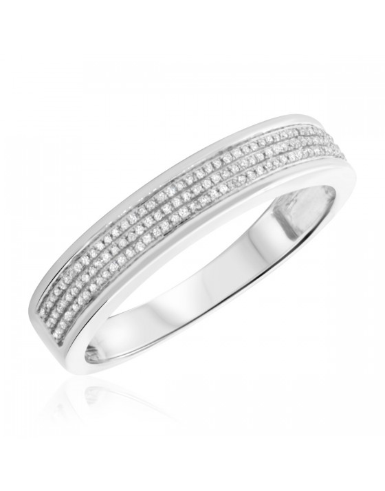 1/5 Carat T.W. Diamond Mens Wedding Band 14K White Gold