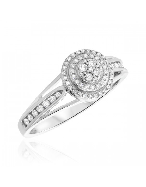 1/3 CT. T.W. Diamond Engagement Ring 14K White Gold
