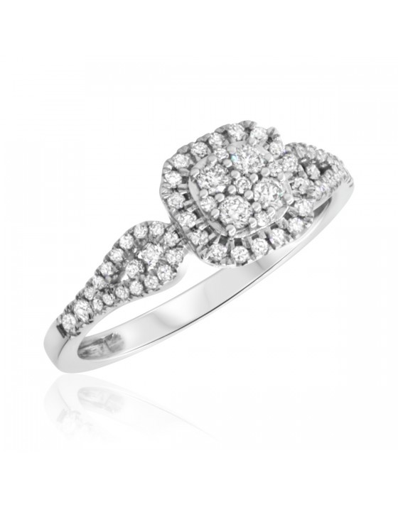 2/3 CT. T.W. Diamond Engagement Ring 14K White Gold
