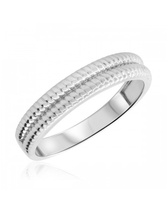 Twisted Mens Wedding Band 14K White Gold