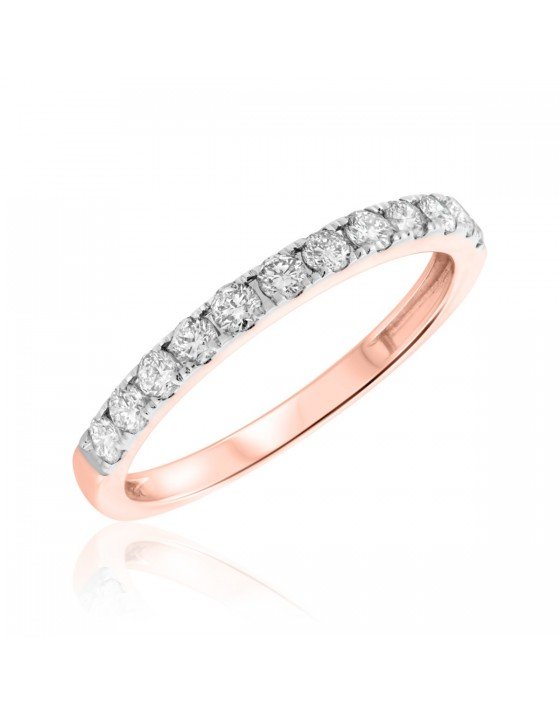 5/8 Carat T.W. Diamond Ladies Wedding Band  14K Rose Gold