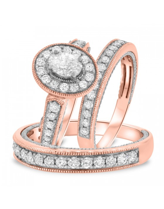 1 3/4 Carat T.W. Diamond Trio Matching Wedding Ring Set 14K Rose Gold