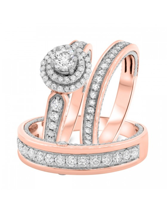1 3/8 Carat T.W. Diamond Trio Matching Wedding Ring Set 14K Rose Gold