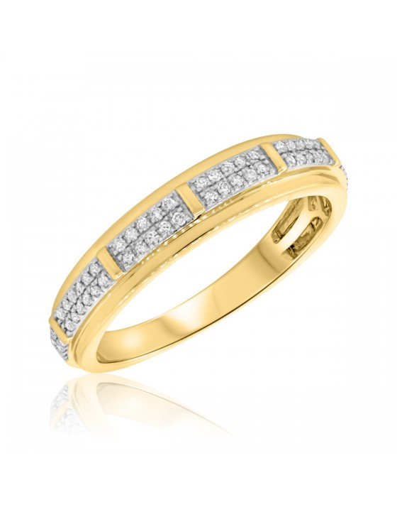 1/3 Carat T.W. Diamond Mens Wedding Band 14K Yellow Gold