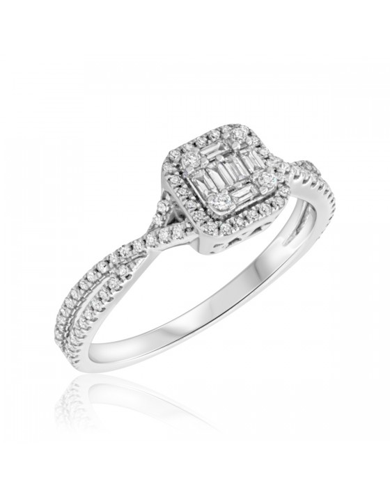 1/2 Carat T.W. Diamond Engagement Ring 10K White Gold