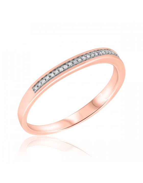 1/8 CT. T.W. Diamond Ladies Wedding Band  14K Rose Gold