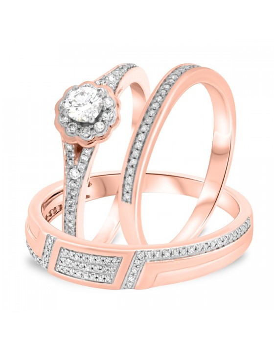 1/2 Carat T.W. Diamond Trio Matching Wedding Ring Set 14K Rose Gold