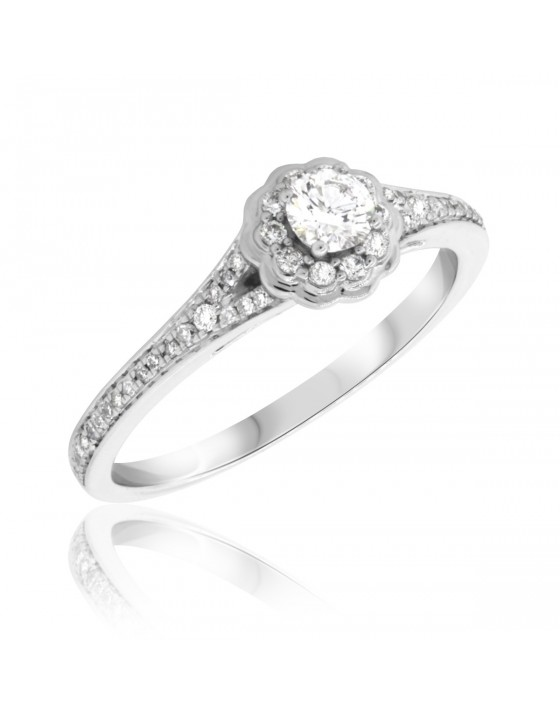 3/8 Carat T.W. Diamond Engagement Ring 14K White Gold