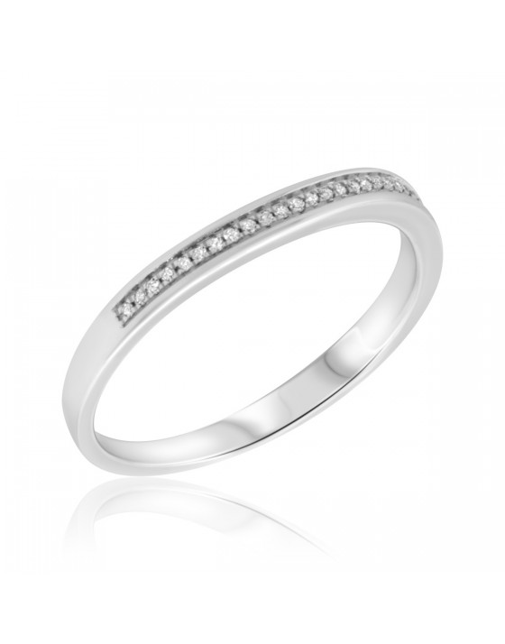 1/8 Carat T.W. Diamond Ladies Wedding Band  14K White Gold