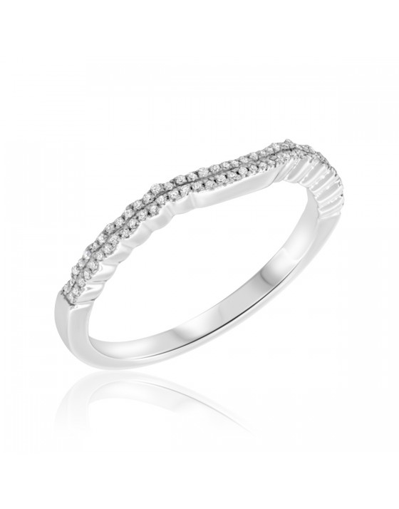 1/5 CT. T.W. Diamond Ladies Wedding Band 10K White Gold