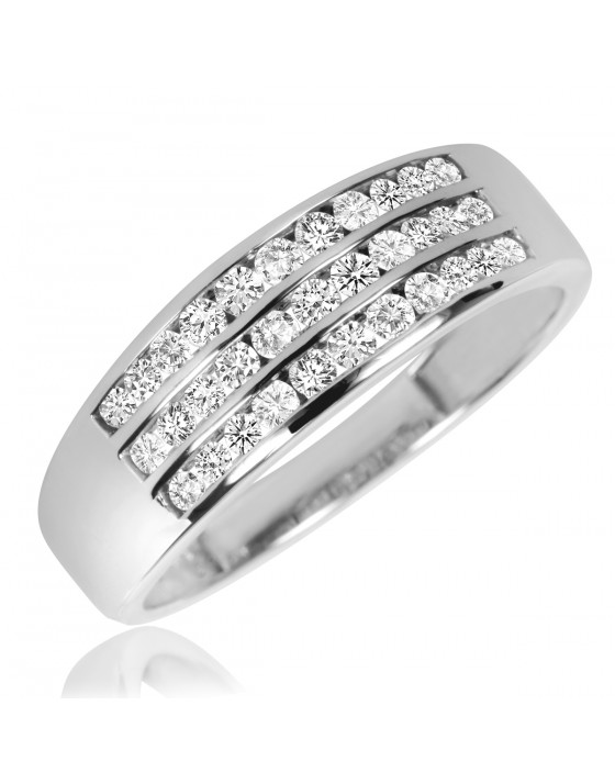 2/3 Carat T.W. Diamond Men's Wedding Band 10K White Gold