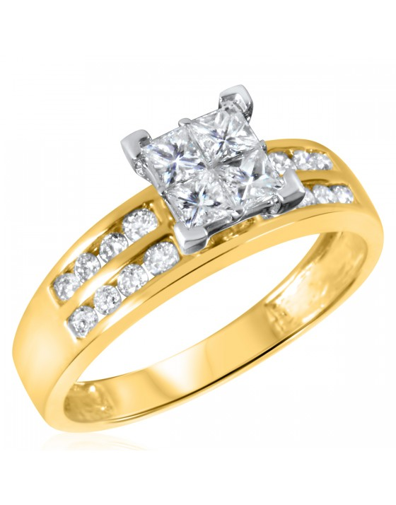 7/8 CT. T.W. Diamond Ladies Engagement Ring 10K Yellow Gold
