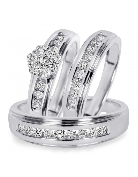 3/4 CT. T.W. Diamond Trio Matching Wedding Ring Set 14K White Gold