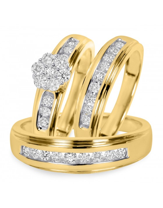 3/4 CT. T.W. Diamond Trio Matching Wedding Ring Set 14K Yellow Gold