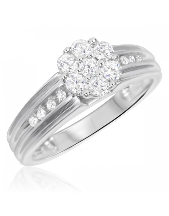 1/2 Carat T.W. Diamond Ladies' Engagement Ring 10K White Gold