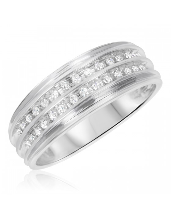 1/3 CT. T.W. Diamond Men's Wedding Band 14K White Gold