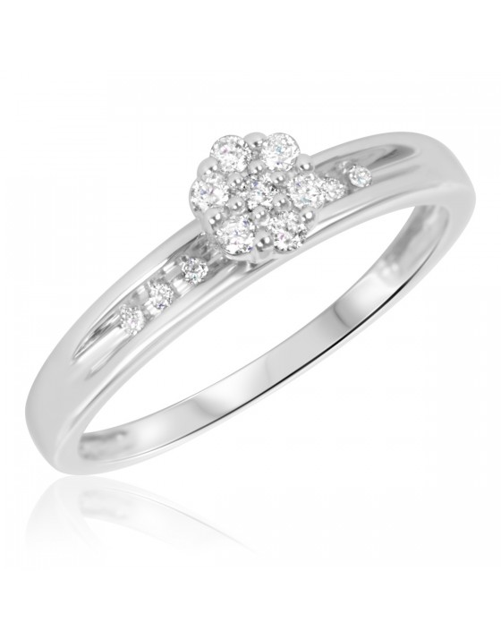 1/6 Carat T.W. Diamond Ladies' Engagement Ring 10K White Gold