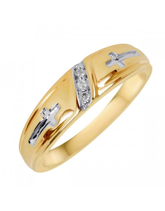 1/25 CT. T.W. Diamond Men's Wedding Ring 10K Yellow Gold