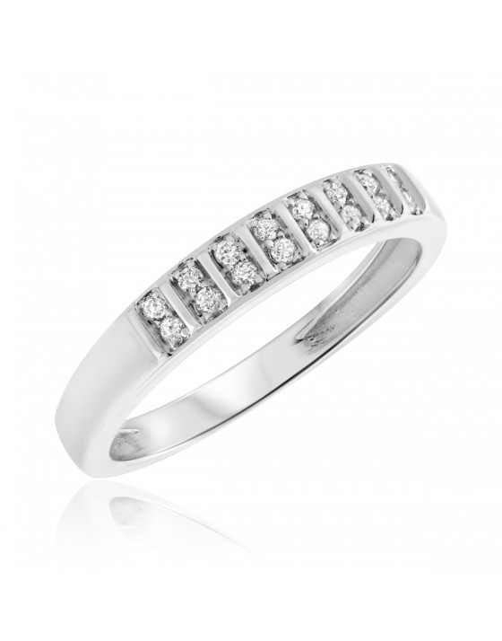 1/10 Carat T.W. Diamond Ladies' Wedding Ring 14K White Gold