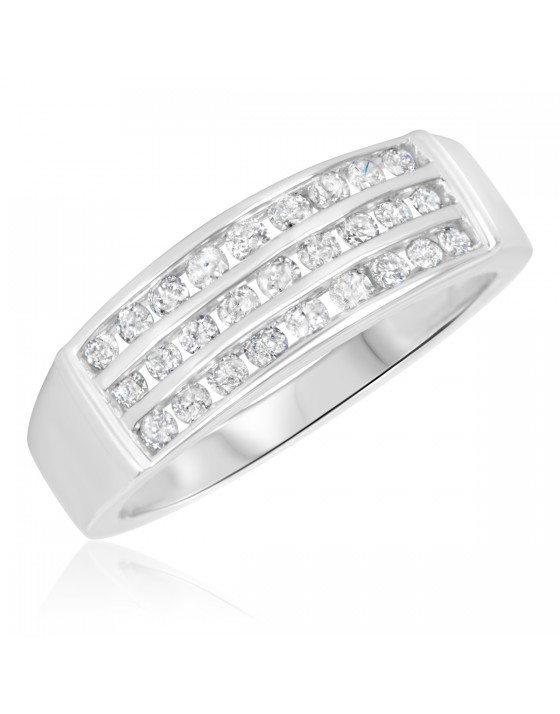 3/4 Carat T.W. Diamond Men's Wedding Band 10K White Gold