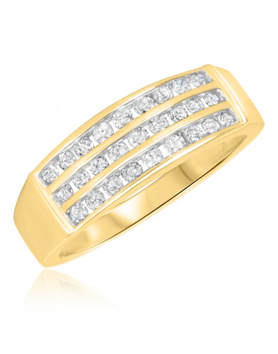 3/4 Carat T.W. Diamond Men's Wedding Band 14K Yellow Gold
