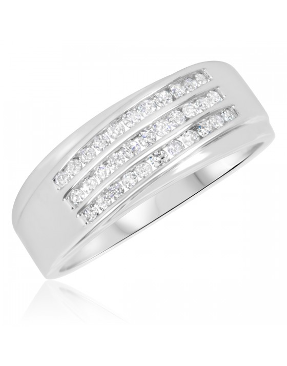 1/2 Carat T.W. Diamond Men's Wedding Band 10K White Gold