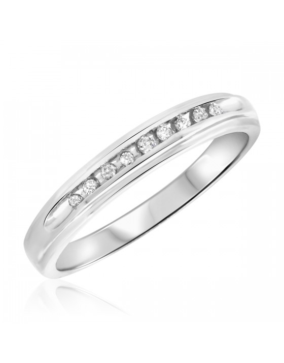 1/8 Carat T.W. Diamond Ladies' Wedding Band 14K White Gold