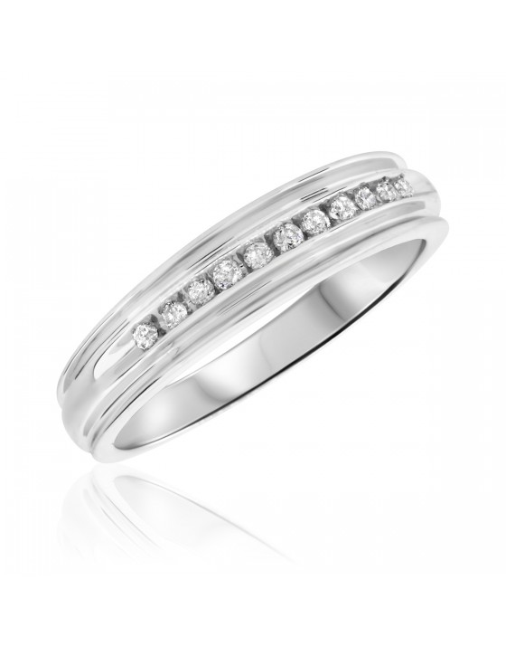 1/5 Carat T.W. Diamond Men's Wedding Band 14K White Gold