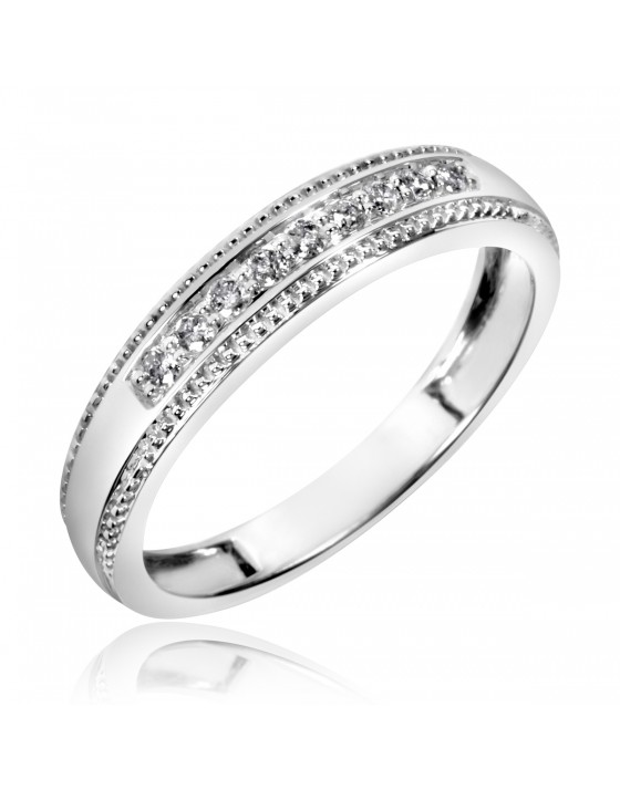 1/5 Carat T.W. Diamond Men's Wedding Band 10K White Gold