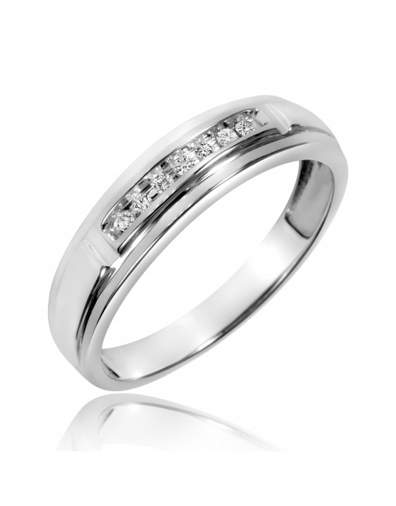 1/15 Carat T.W. Diamond Men's Wedding Band 10K White Gold