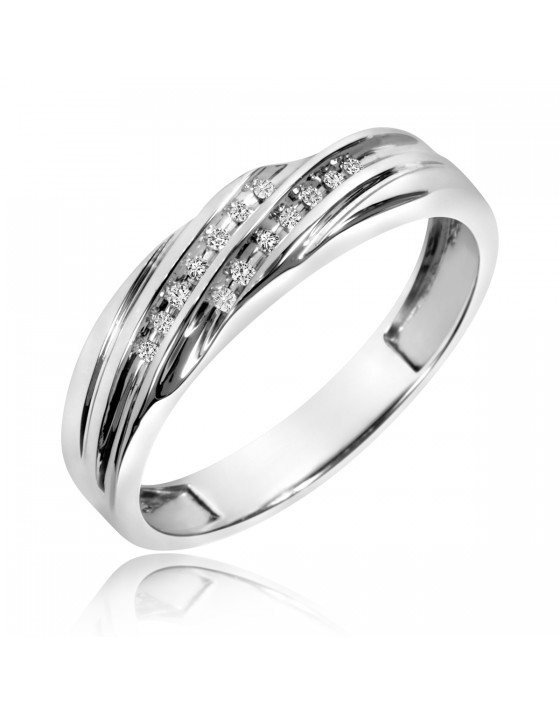 1/10 CT. T.W. Diamond Men's Wedding Band 10K White Gold