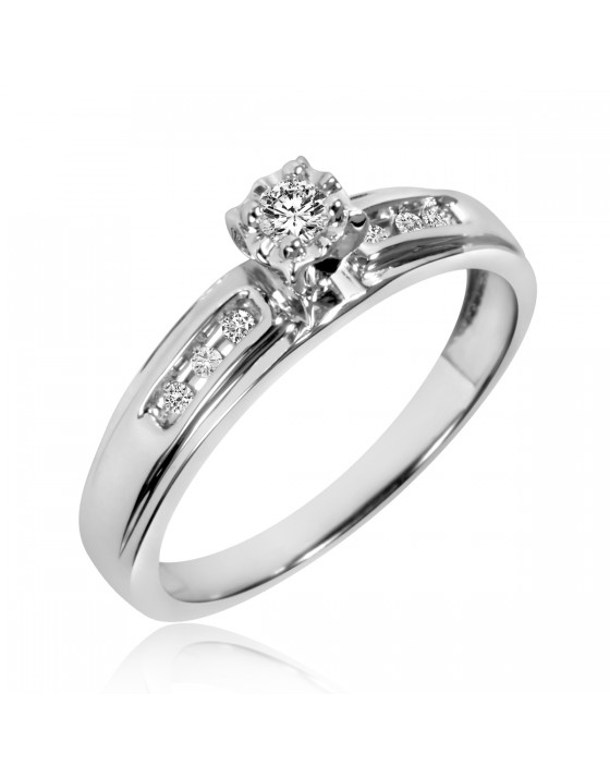 1/8 Carat T.W. Diamond Ladies' Engagement Ring 14K White Gold