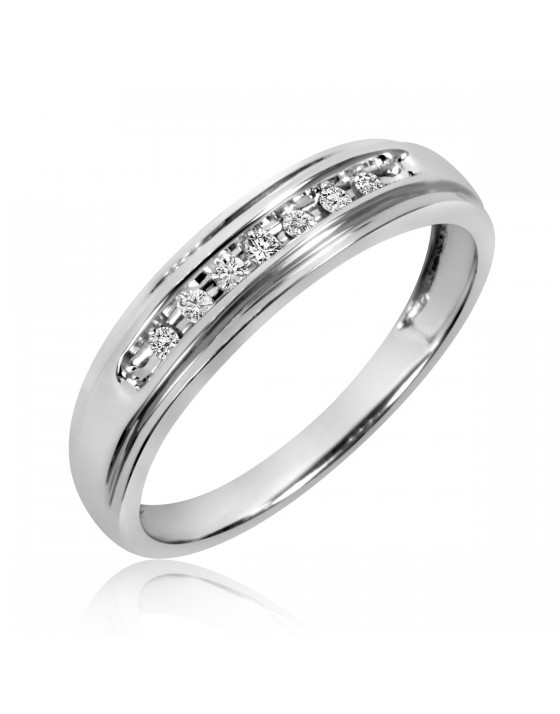 1/10 Carat T.W. Diamond Ladies' Wedding Band 10K White Gold