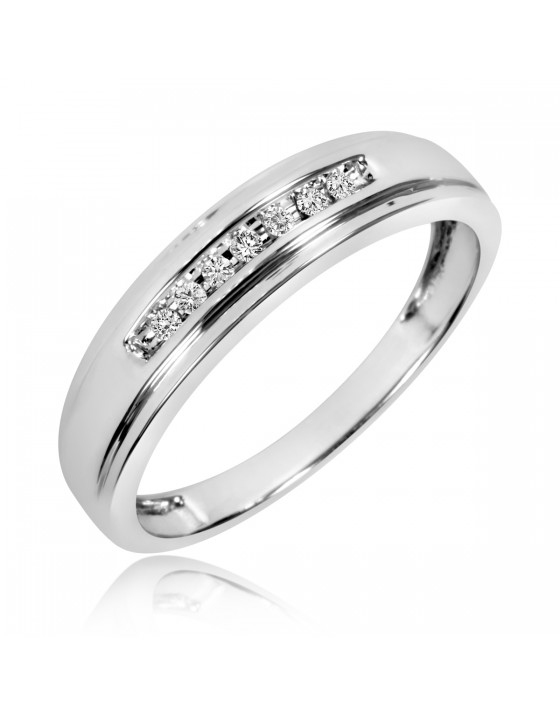 1/10 Carat T.W. Diamond Men's Wedding Band 14K White Gold