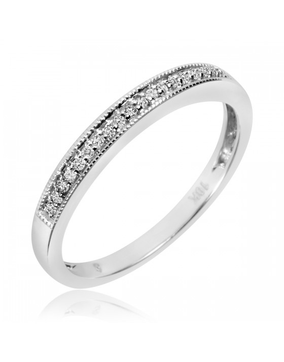 1/10 CT. T.W. Diamond Ladies' Wedding Band 10K White Gold
