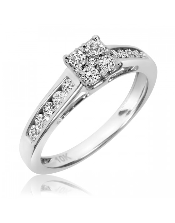 1/2 Carat T.W. Diamond Ladies' Engagement Ring 14K White Gold