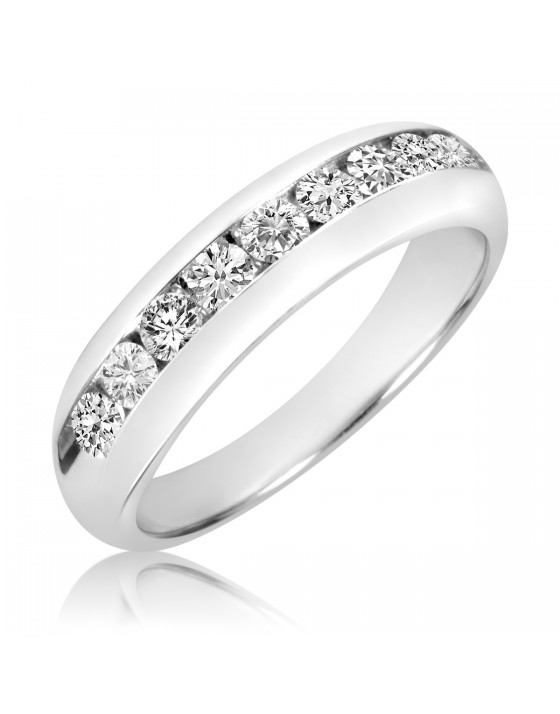 1 Carat T.W. Diamond Men's Wedding Band 10K White Gold