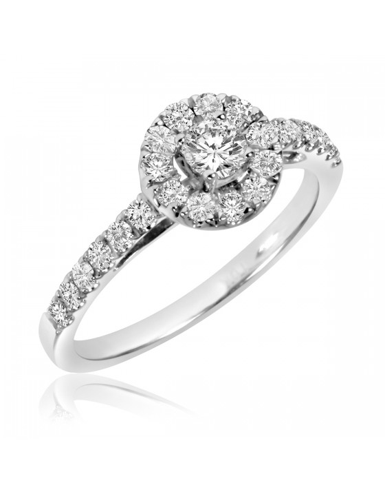 2/3 CT. T.W. Diamond Ladies' Engagement Ring 14K White Gold