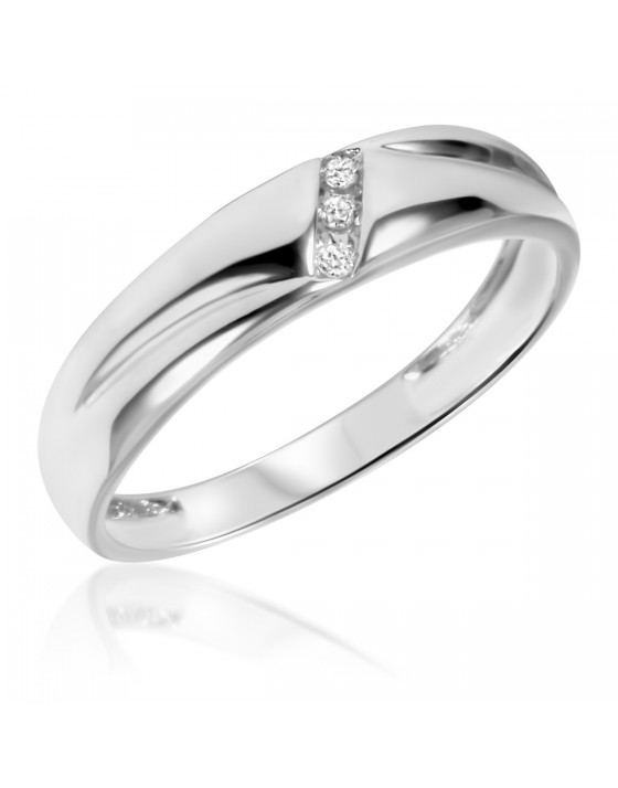 1/20 Carat T.W. Diamond Men's Wedding Band 14K White Gold