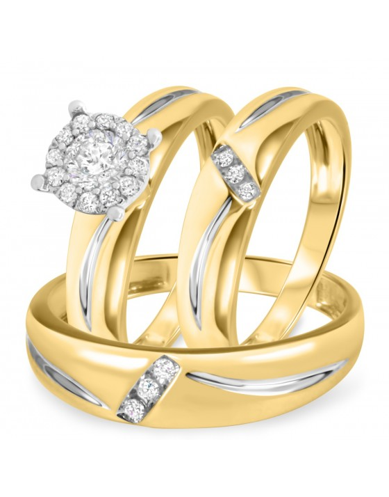1/2 CT. T.W. Diamond Ladies Engagement Ring, Wedding Band, Men's Wedding Band Matching Set 10K Yellow Gold