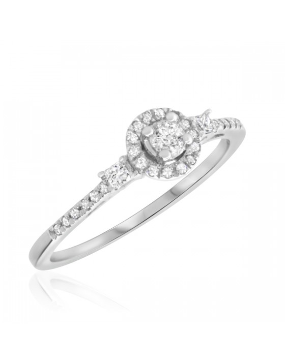 1/4 Carat T.W. Round Cut Diamond Ladies Engagement Ring 10K White Gold
