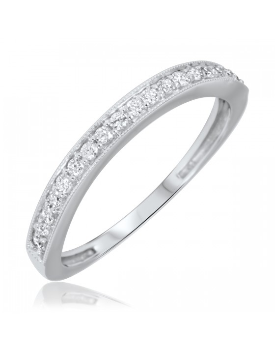 3/8 Carat T.W. Round Cut Diamond Ladies Wedding Band 10K White Gold