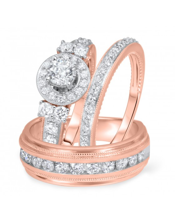 2 Carat T.W. Round Cut Diamond Matching Trio Wedding Ring Set 10K Rose Gold