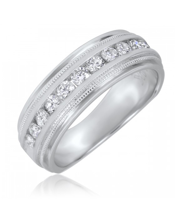 1/2 CT. T.W. Round Cut Diamond Men's Wedding Band 10K White Gold