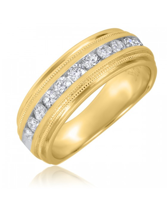 1/2 CT. T.W. Round Cut Diamond Men's Wedding Band 14K Yellow Gold