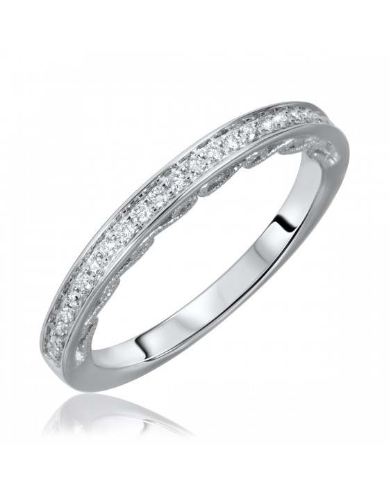1/6 Carat T.W. Round Cut Diamond Ladies Wedding Band 10K White Gold