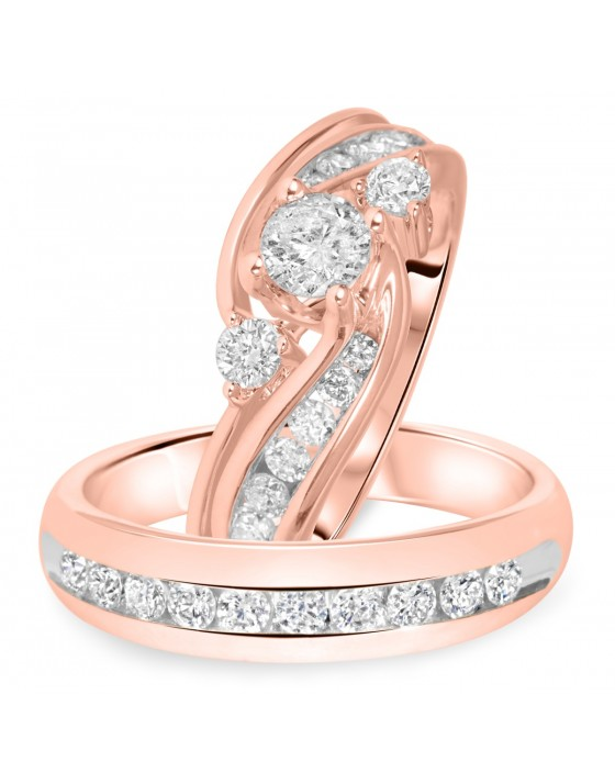 1 1/2 Carat T.W. Round Cut Diamond Matching Trio Wedding Ring Set 14K Rose Gold
