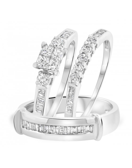 1 1/8 Carat T.W. Round Cut Diamond Matching Trio Wedding Ring Set 14K White Gold