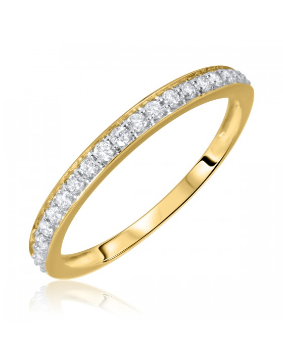 1/5 Carat T.W. Round Cut Diamond Ladies Wedding Band 14K Yellow Gold