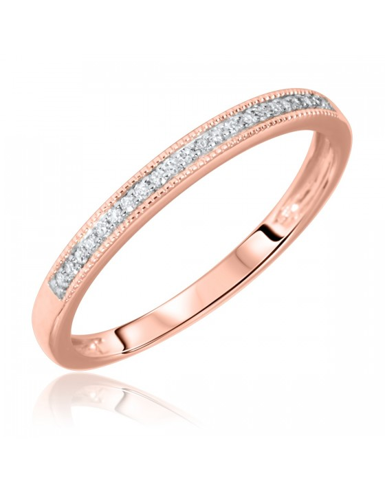 1/15 Carat T.W. Round Cut Diamond Ladies Wedding Band 10K Rose Gold